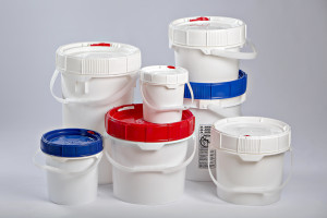We stock M&M Screw-Top pails in .6 gal - 6.5 gal with a variety of colored lids.